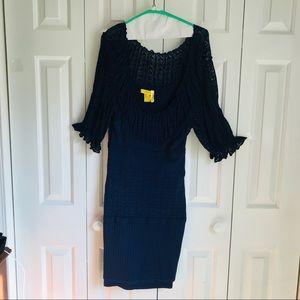 Catherine Malandrino Blue Knit Dress. Size L